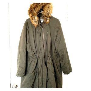 Women's plus size Parka with Faux fur hood - 3x